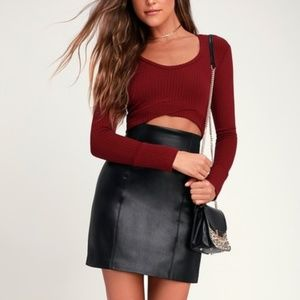 LULUS Liam Wine Red Ribbed Long Sleeve Crop Top